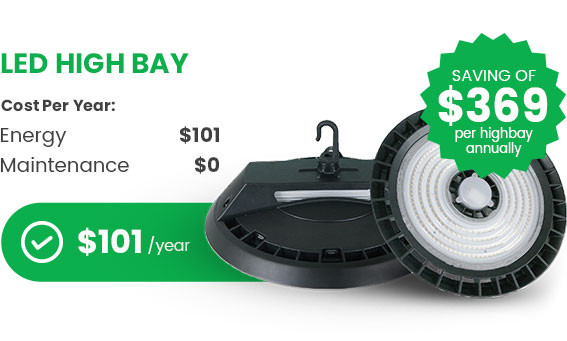 saving with led high bay annually